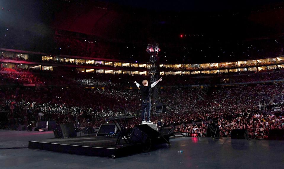 Ed Sheeran performs during the Global Citizen Festival: Mandela 100 at FNB Stadium on December 2, 2018 in Johannesburg, South Africa.  (Photo by Kevin Mazur/Getty Images for Global Citizen Festival: Mandela 100)