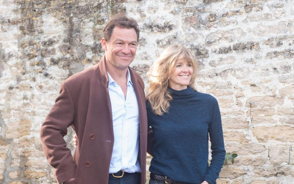 Dominic West and his wife Catherine FitzGerald make a statement to press outside their Wiltshire home after Dominic was seen kissing actress Lily James while in Rome - Frida/The Mega Agency