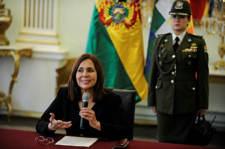 Bolivian Foreign Minister Karen Longaric, speaking to reporters in La Paz, on December 27, 2019, said unauthorized Spanish embassy staff tried to enter Mexico's diplomatic residence in that city (AFP Photo/JORGE BERNAL)