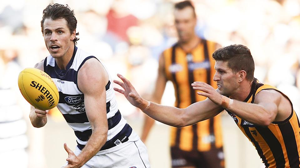 Geelong's Isaac Smith has been greeted with a chorus of boos from Hawthorn fans after the former Hawk switched teams to the arch-rival Cats over the off-season. (Photo by Dylan Burns/AFL Photos via Getty Images)