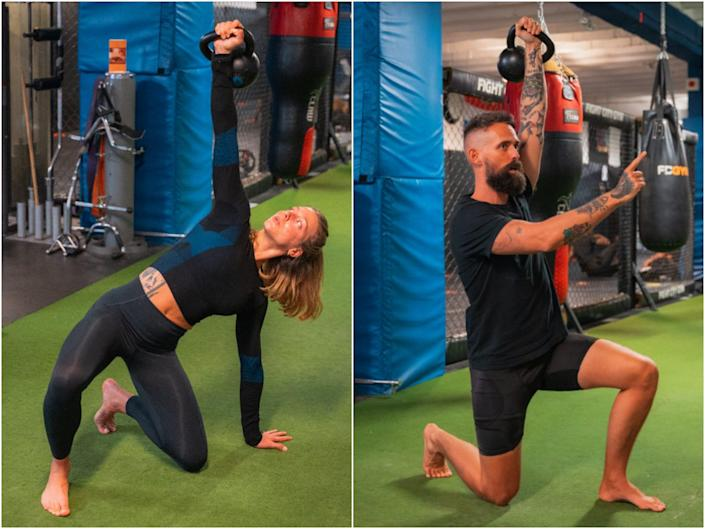 Steph and Jay Rose performing Turkish get-ups with kettlebells.