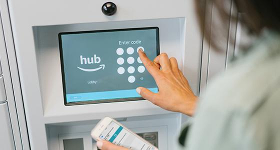 Residents of a building with a Hub get a notification when a package has arrived, with a code to open the locker the package is in. (Amazon)