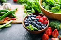 """<p>As you age, your <a href=""""https://www.prevention.com/weight-loss/a20478794/boost-metabolism-with-the-high-metabolism-diet/"""" rel=""""nofollow noopener"""" target=""""_blank"""" data-ylk=""""slk:metabolism"""" class=""""link rapid-noclick-resp"""">metabolism</a> slows down, you begin to lose muscle mass, and your hormone levels go a bit wonky, making you more prone to weight gain, mood changes, and health problems you may not have dealt with during your younger years. Fortunately, there are things you can do to increase your fat-burning capabilities, stabilize your energy, and minimize your disease risk. </p><p>In addition to following a regular exercise routine, <a href=""""https://www.prevention.com/health/sleep-energy/a30981827/how-to-sleep/"""" rel=""""nofollow noopener"""" target=""""_blank"""" data-ylk=""""slk:getting enough sleep"""" class=""""link rapid-noclick-resp"""">getting enough sleep</a>, and <a href=""""https://www.prevention.com/health/mental-health/g26542035/how-to-relieve-stress/"""" rel=""""nofollow noopener"""" target=""""_blank"""" data-ylk=""""slk:reducing your stress levels"""" class=""""link rapid-noclick-resp"""">reducing your stress levels</a>, eating antioxidant-rich foods can help you curb hunger and cravings while improving your overall health<em>. </em>So what foods should go on your plate? Sarah Mirkin, R.D.N., author of <a href=""""https://www.amazon.com/Fill-Your-Plate-Lose-Weight/dp/1950099008/ref=sr_1_2?tag=syn-yahoo-20&ascsubtag=%5Bartid%7C10070.g.35366101%5Bsrc%7Cyahoo-us"""" rel=""""nofollow noopener"""" target=""""_blank"""" data-ylk=""""slk:Fill Your Plate, Lose The Weight"""" class=""""link rapid-noclick-resp""""><em>Fill Your Plate, Lose The Weight</em></a>, a 21-day weight loss plan for women over 40, shared her favorite nutritional all-stars. From dark chocolate to salmon to vibrant berries, these foods are full of flavor <em>and</em> age-reversing nutrients.<br> </p>"""