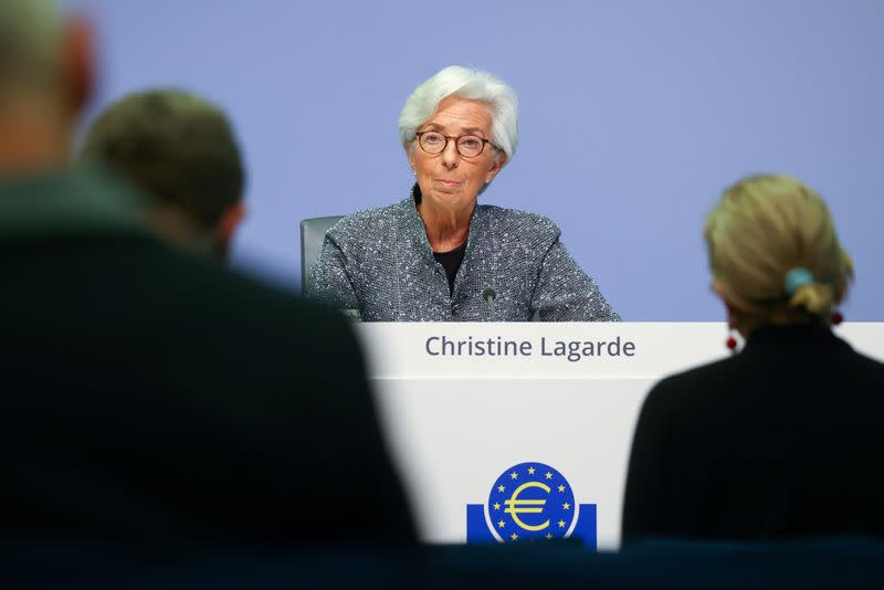 FILE PHOTO: European Central Bank (ECB) President Christine Lagarde addresses a news conference on the outcome of the meeting of the Governing Council, in Frankfurt