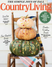 """<p><em>Country Living</em> Food & Crafts Director Charlyne Mattox (a.k.a. The Gourd Whisperer) always dreams up the <em>best </em>pumpkin ideas, including this seasonal stack. The cover also highlights a few of our favorite things, including cozy cabins and small-town escapes complete with stunning foliage and friendly locals. (The latter is part of our new recurring feature titled """"Small Town Saturday."""")</p>"""