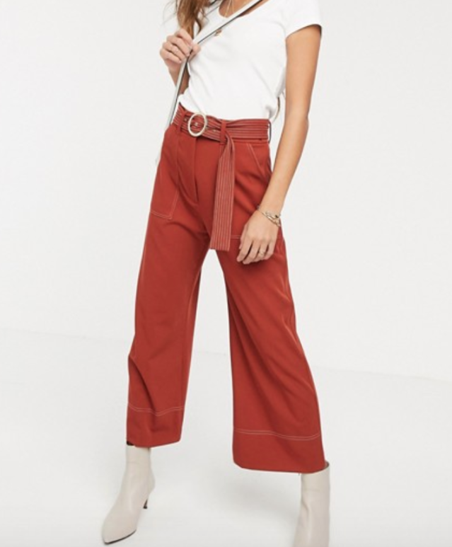 River Island wide leg trousers with contrast stitching in rust