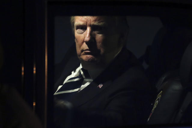<p>U.S. President Donald Trump sits in the motorcade after arriving at the Noi Bai International Airport in Hanoi, Vietnam, Nov. 11, 2017. (Photo: Minh Hoang/AP) </p>