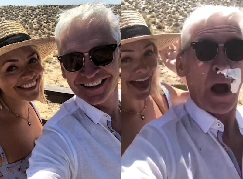 Phillip Schofield's holiday selfie with Holly Willoughby was interrupted when the latter's husband pranked the 'This Morning' presenter using suncream (Phillip Schofield/Instagram)