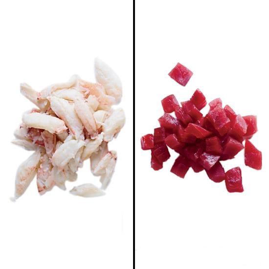 <p><strong>Crab</strong> Meat from Dungeness, blue or king crabs is best. Pick over the meat for bits of shell.</p><p><strong>Tuna</strong> If a piece of tuna is sinewy, simply scrape the meat off the sinews with a sharp knife.</p>