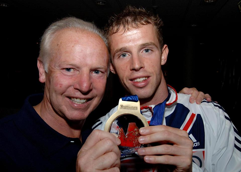 JJ Williams pictured with his son Rhys after claiming 400m hurdle bronze at the 2006 European Athletic ChampionshipsPA
