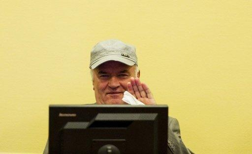 Ratko Mladic in the court room at the UN Yugoslav war crimes tribunal in The Hague last month