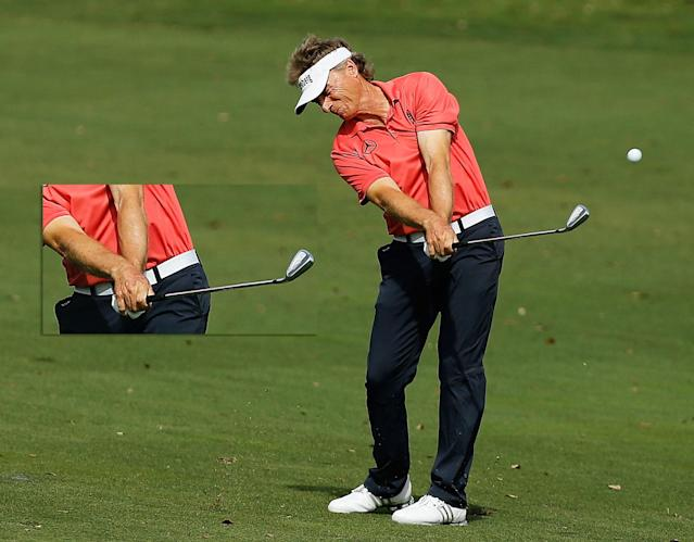 I love these photographs of Bernhard Langer and Henrik Stenson because they show that there are so many different ways to get it done. To start with, Stenson is 15 years younger, not to mention taller and stronger. But Langer has had one of the best careers in golf because he understands how to get the most out of his swing. He hasn't rotated his lower body as much, so he uses much more rotation of the club to produce speed.