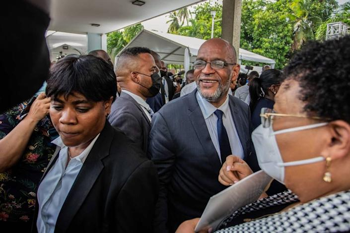 Ariel Henry, the new prime minister of Haiti, arrives at a ceremony at the Prime Minister's Office on July 20, 2021, in Port-au-Prince, Haiti. Henry takes power from former interim Prime Minister Claude Joseph, who took control of Haiti's government right after the assassination of President Jovenel Moïse on July 7. The new government is intended to keep stability as the country undergoes a social and political crisis.