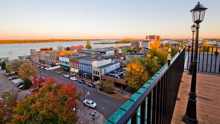 Overlooking the Paducah Kentucky Riverfront of the Ohio River.