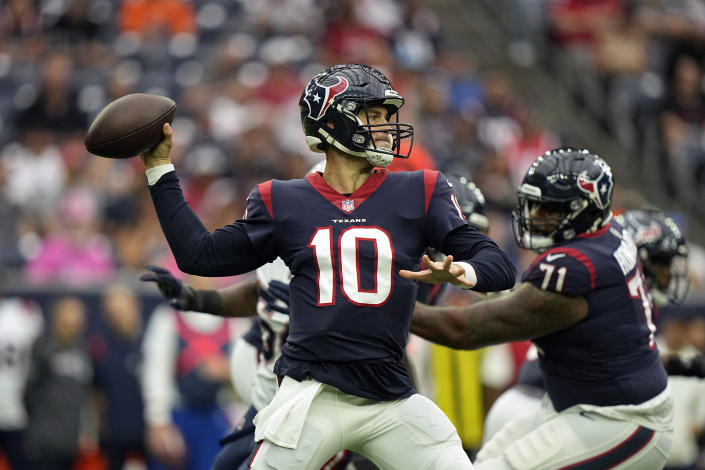 Houston Texans quarterback Davis Mills throws a pass against the New England Patriots during the first half of an NFL football game Sunday, Oct. 10, 2021, in Houston. (AP Photo/Eric Christian Smith)