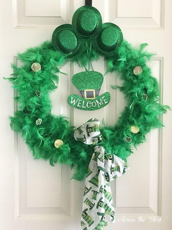 "<p>With gold coins and wee green glitter top hats decorating it, this wreath just might bring a few leprechauns knocking at your door.</p><p><strong>Get the tutorial at <a href=""https://acrosstheblvd.com/whimsical-st-patricks-day-wreath/"" rel=""nofollow noopener"" target=""_blank"" data-ylk=""slk:Across the Boulevard"" class=""link rapid-noclick-resp"">Across the Boulevard</a>.</strong></p><p><a class=""link rapid-noclick-resp"" href=""https://www.amazon.com/wire-wreath-frames/s?k=wire+wreath+frames&tag=syn-yahoo-20&ascsubtag=%5Bartid%7C10050.g.35162910%5Bsrc%7Cyahoo-us"" rel=""nofollow noopener"" target=""_blank"" data-ylk=""slk:SHOP WIRE WREATH FRAMES"">SHOP WIRE WREATH FRAMES</a><br></p>"
