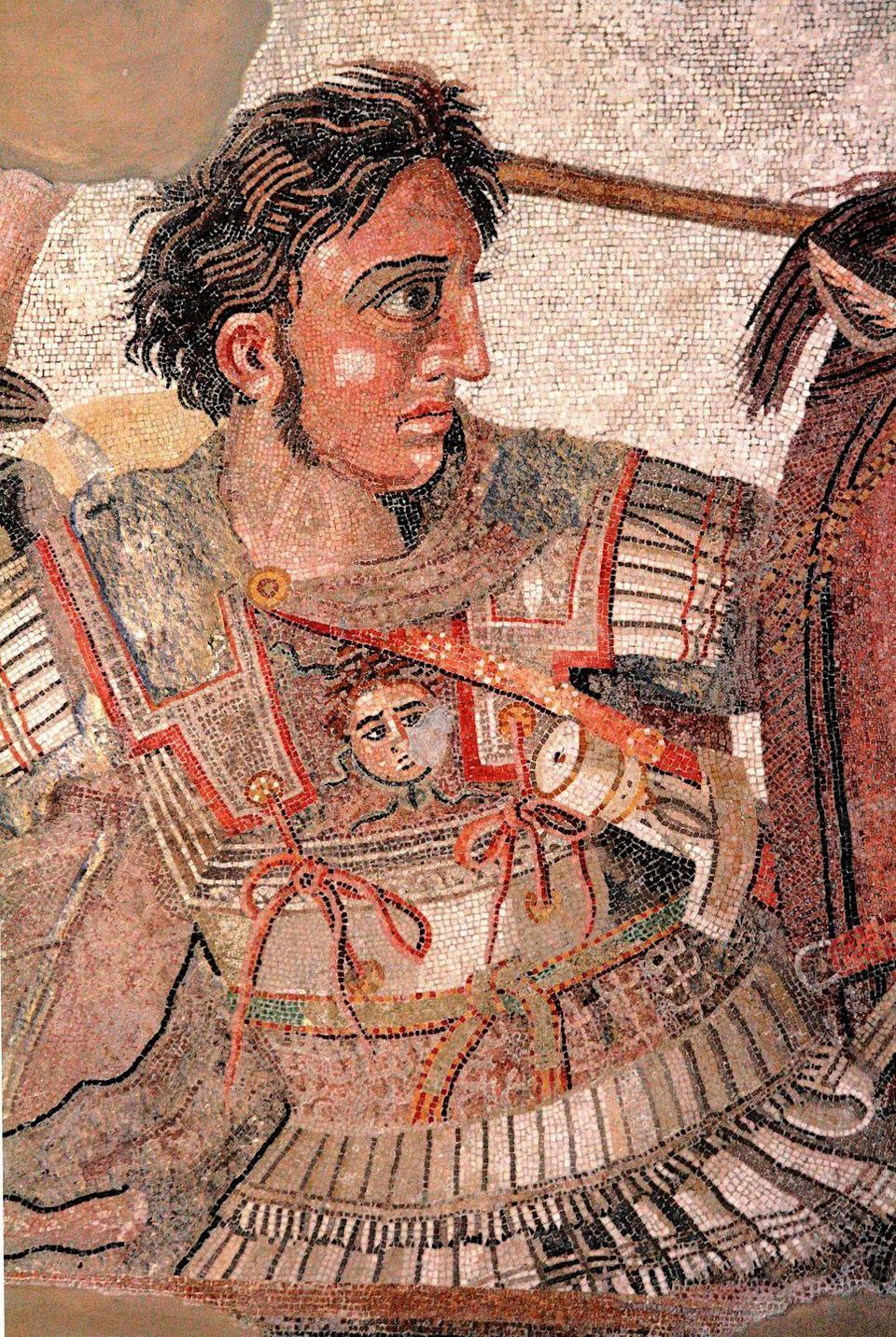 """<p>Okay, maybe he's not a famous face now, but we can promise you he was famous when he was conquering the Mediterranean, Egypt, the Middle East, and parts of Asia during the 4th century B.C.. According to <a href=""""https://www.nationalgeographic.org/encyclopedia/alexander-great/"""" rel=""""nofollow noopener"""" target=""""_blank"""" data-ylk=""""slk:National Geographic"""" class=""""link rapid-noclick-resp"""">National Geographic</a>, historians think he had heterochromia with one blue eye and one brown.</p>"""