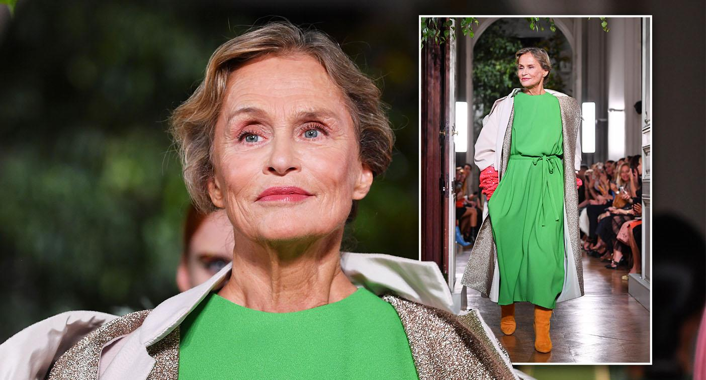 Lauren Hutton walks the Valentino catwalk at Paris Fashion Week. [Photo: Getty]