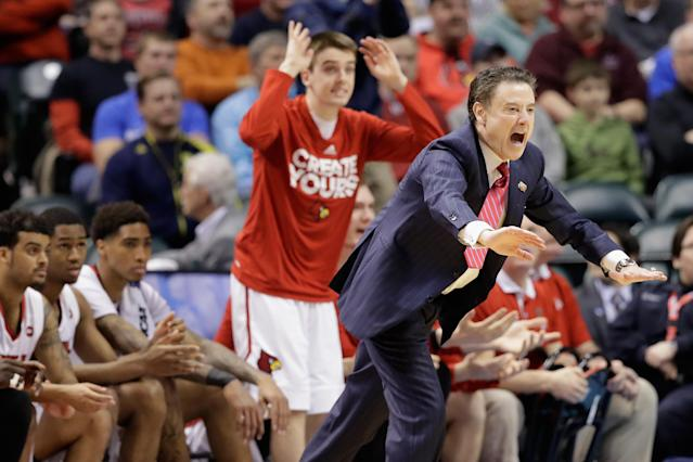 Rick Pitino of the Louisville Cardinals reacts in the first half of a game during the 2017 NCAA tournament. (Andy Lyons/Getty Images)