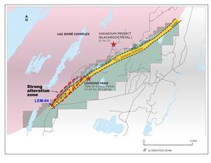 Map showing the strong alteration zone located in the western part of the Lemoine property.