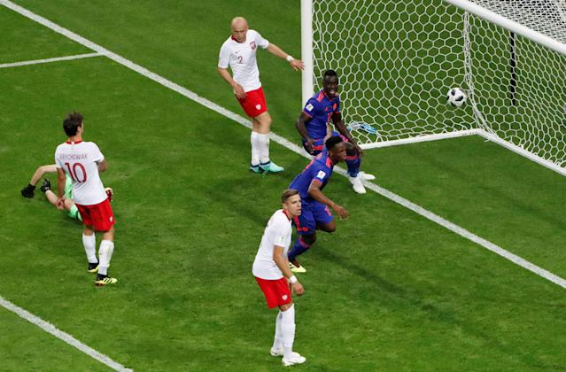 Soccer Football - World Cup - Group H - Poland vs Colombia - Kazan Arena, Kazan, Russia - June 24, 2018 Colombia's Yerry Mina scores their first goal REUTERS/Jorge Silva