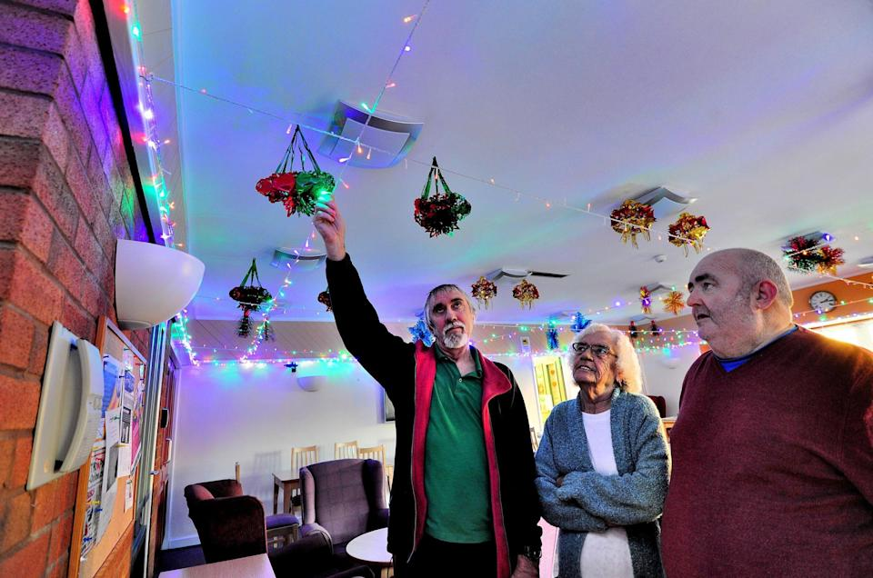 <em>'Ridiculous' – residents have been banned from putting up Christmas decorations at their sheltered housing complex (Pictures: SWNS)</em>