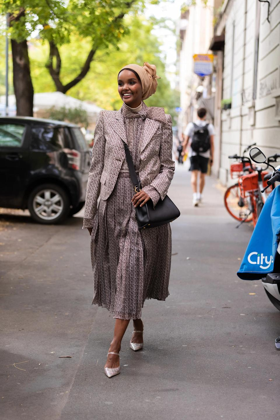 """Full body prints aren't for the faint of heart, but if anyone can do it, it's Halima.<br><br><em>Halima Aden</em><span class=""""copyright"""">Photographed by Melodie Jeng.</span>"""