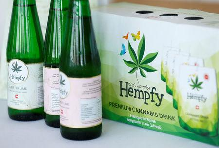 Cannabis drinks of Swiss Hempfy company is pictured during the Cannabis Business Europe 2018 congress in Frankfurt