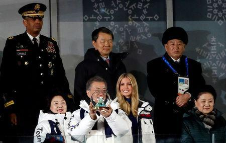 Pyeongchang 2018 Winter Olympics - Closing ceremony - Pyeongchang Olympic Stadium - Pyeongchang, South Korea - February 25, 2018 - South Korean President Moon Jae-in and South Korean first lady Kim Jung-sook, Ivanka Trump, senior White House adviser, Chinese Vice Premier Liu Yandong, South Korea's Constitutional Court President Lee Jin-sung and U.S. Forces Korea Commander Vincent Brooks and Kim Yong-chol of the North Korean delegation, attend the closing ceremony. REUTERS/Murad Sezer