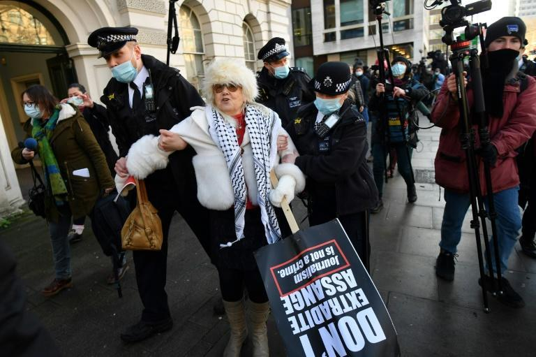 Police arrested Assange supporters outside Westminster Magistrates court in London on Wednesday