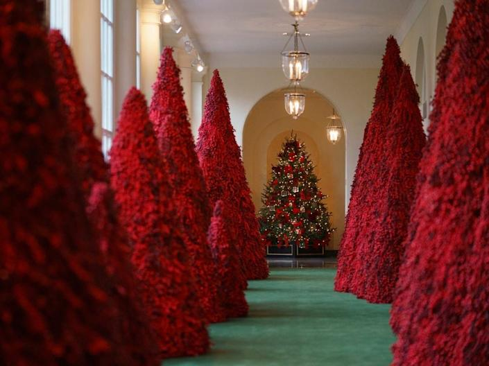 red Topiary trees