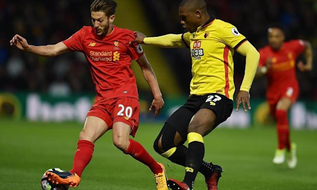 "<span class=""element-image__caption"">Adam Lallana, left, showed he is fit again with a shot against the crossbar, which will help Liverpool's chances of finishing in the top four. </span> <span class=""element-image__credit"">Photograph: Andrew Powell/Liverpool FC via Getty Images</span>"