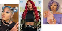 """<p class=""""body-dropcap"""">When <a href=""""https://www.harpersbazaar.com/culture/features/a35496164/megan-thee-stallion-march-2021-cover-story/"""" rel=""""nofollow noopener"""" target=""""_blank"""" data-ylk=""""slk:Megan Thee Stallion"""" class=""""link rapid-noclick-resp"""">Megan Thee Stallion</a> graced <em>BAZAAR's</em> March 2021 cover, her hair was long and dark with a '90s supermodel swoop that's notoriously tricky to get right. But longtime fans know the luxe cover look was relatively low-key for the musician, who has sported more elaborate styles for music videos, shows, and red carpet events—including nearly every hair color in the rainbow. Below, a look back on some of Hot Girl Meg's most iconic and memorable hairstyles. </p>"""