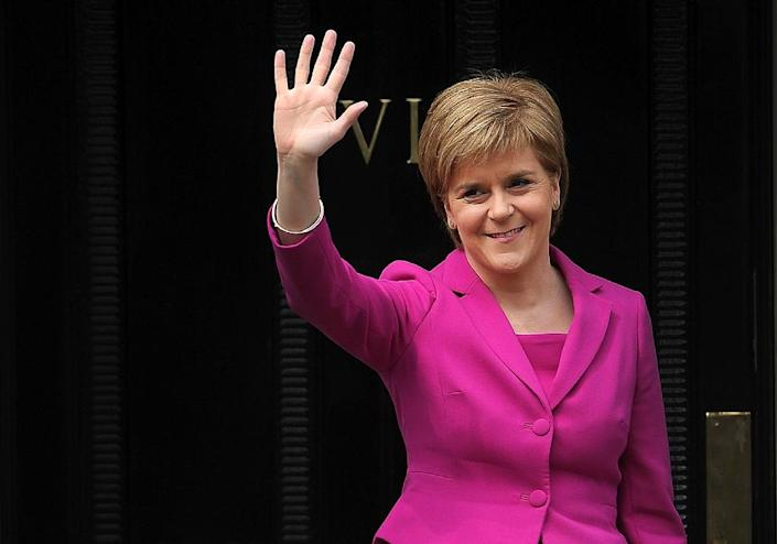 The election was not entirely good news for Scotland's First Minister and SNP leader Nicola Sturgeon despite winning a third term in office, as the party lost its overall majority (AFP Photo/Andy Buchanan)
