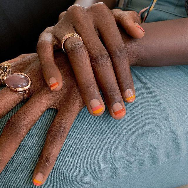 """<p>""""I can't do nail art"""" says every in-salon devotee, ever. But you can, and you will—especially if you invest in a striper brush, which is less than $5. Start with a clear base coat, then layer over thick wefts of coordinating hues. </p><p><a href=""""https://www.instagram.com/p/CJ8ysCfFZuh/"""" rel=""""nofollow noopener"""" target=""""_blank"""" data-ylk=""""slk:See the original post on Instagram"""" class=""""link rapid-noclick-resp"""">See the original post on Instagram</a></p>"""