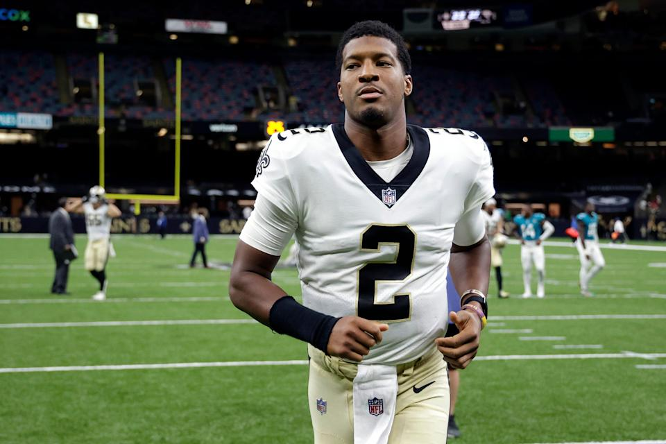 New Orleans Saints quarterback Jameis Winston (2) runs off the field after an NFL preseason football game against the Jacksonville Jaguars in New Orleans, Monday, Aug. 23, 2021.