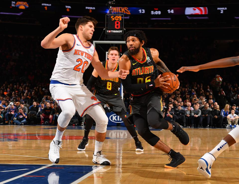 Atlanta Hawks forward DeAndre Bembry drives to the basket during a December game against the New York Knicks. (Getty)
