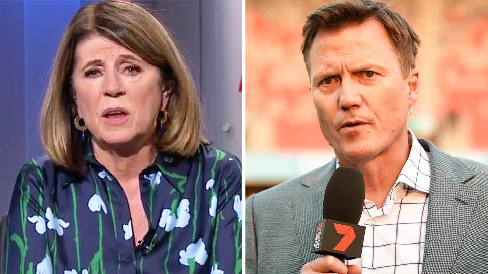 Caroline Wilson and James Brayshaw, pictured here in 2020.