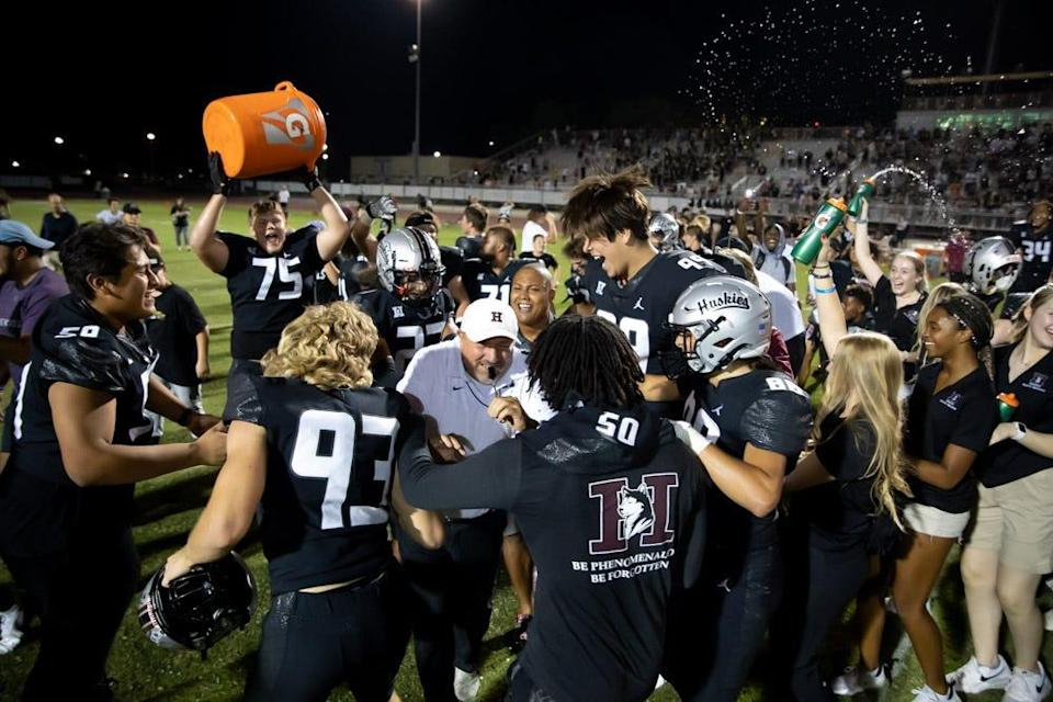 Hamilton players celebrate after a comeback win over Bishop Gorman on Friday, Sept. 17, 2021.