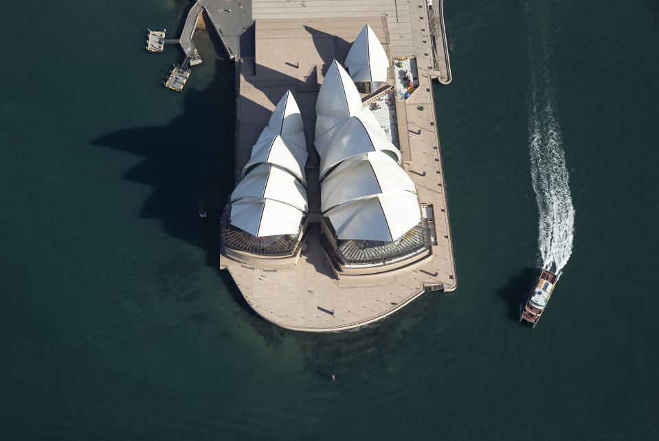 Aerial view of empty Opera House forecourt.