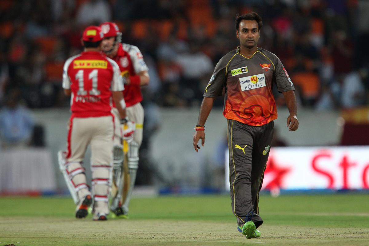Amit Mishra walks back during match 25 of the Pepsi Indian Premier League between The Sunrisers Hyderabad and The Kings XI Punjab held at the Rajiv Gandhi International  Stadium, Hyderabad  on the 19th April 2013..Photo by Ron Gaunt-IPL-SPORTZPICS..Use of this image is subject to the terms and conditions as outlined by the BCCI. These terms can be found by following this link:..https://ec.yimg.com/ec?url=http%3a%2f%2fwww.sportzpics.co.za%2fimage%2fI0000SoRagM2cIEc&t=1506379736&sig=sJo76fdfSWGwwna7_VVlmg--~D