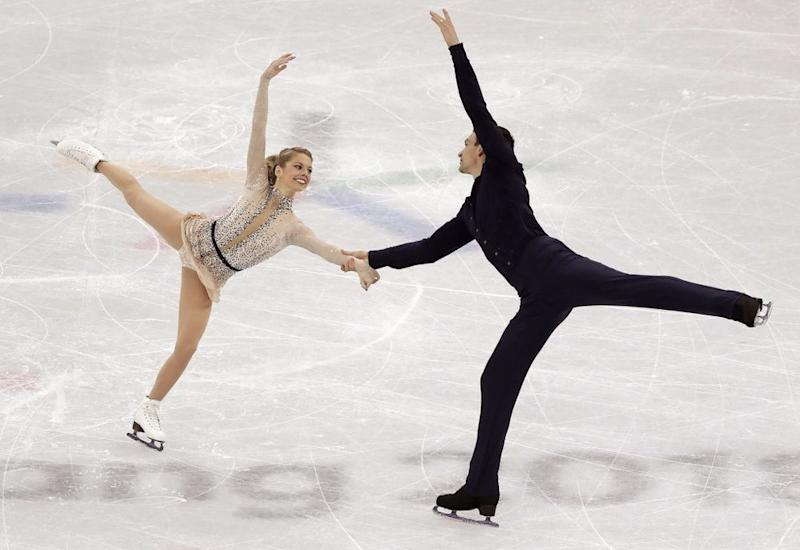 Alexa Scimeca Knierim and Chris Knierim performing on Valentine's Day at the Winter Olympics