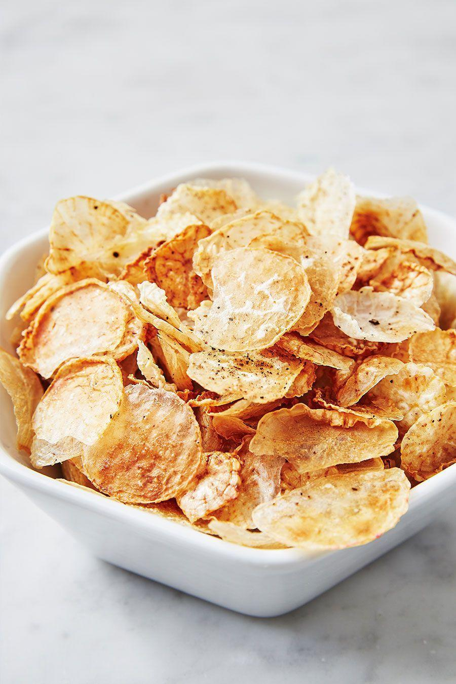 """<p>You'd never guess it, but these guys are made with...wait for it...radishes!!!</p><p>Get the recipe from <a href=""""https://www.delish.com/cooking/recipe-ideas/a25801977/fauxtato-chips-recipe/"""" rel=""""nofollow noopener"""" target=""""_blank"""" data-ylk=""""slk:Delish"""" class=""""link rapid-noclick-resp"""">Delish</a>.</p>"""
