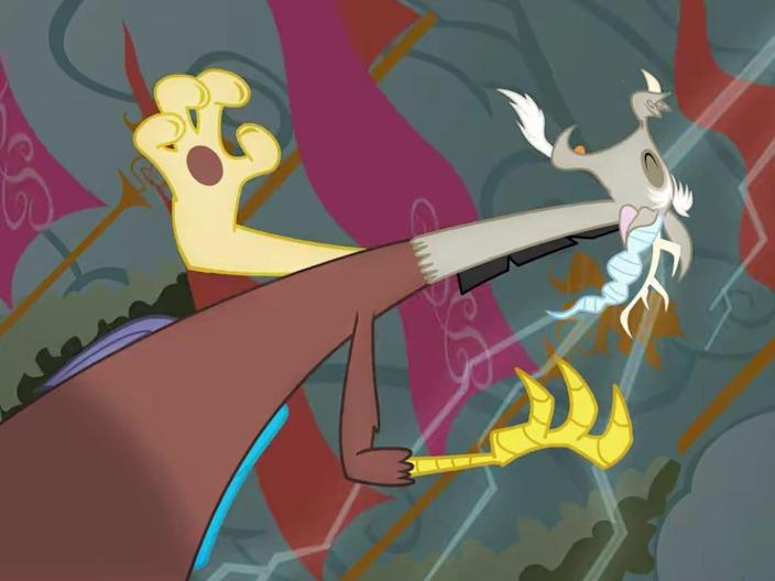 Discord, the My Little Pony character, laughing.