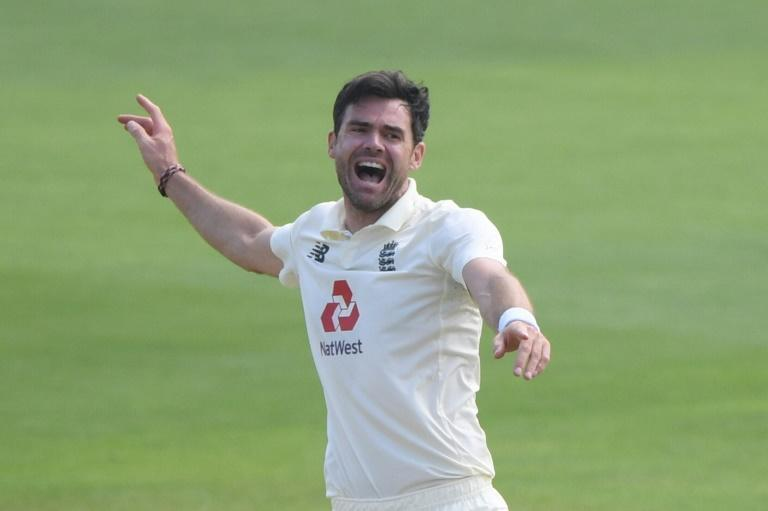 That's out - England's James Anderson celebrates having Pakistan opener Shan Masood lbw for one on the first day of the second Test at the Ageas Bowl, Southampton, on Thursday