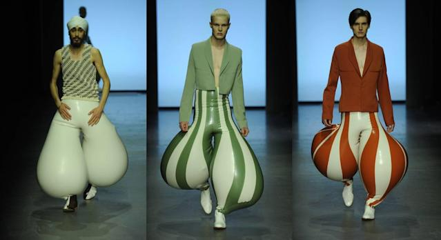 The trousers have divided opinion. (Harikrishnan, MA Menswear at London College of Fashion)
