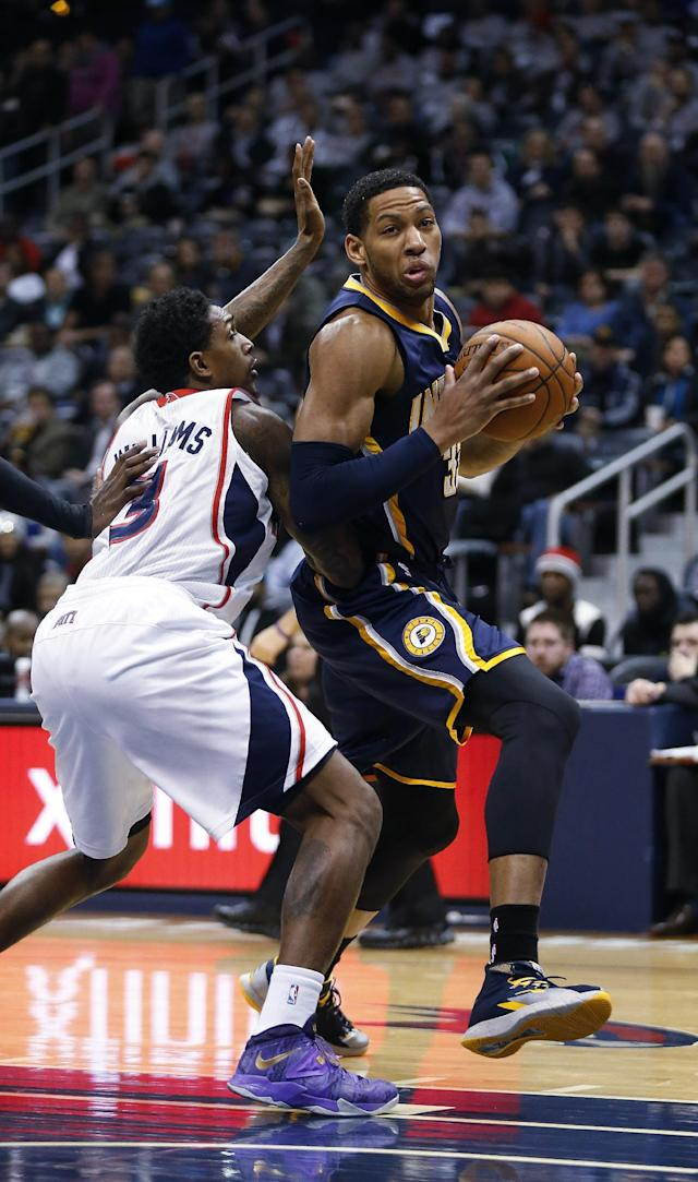 Indiana Pacers small forward Danny Granger (33) drives against Atlanta Hawks shooting guard Louis Williams (3) in the first half of an NBA basketball game, Tuesday, Feb. 4, 2014, in Atlanta. (AP Photo/John Bazemore)