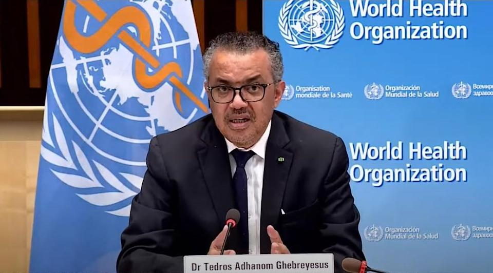 Video screen shot taken on May 7, 2021 shows World Health Organization WHO Director General Tedros Adhanom Ghebreyesus attending a press briefing in Geneva, Switzerland.   The WHO validated on Friday the COVID-19 vaccine developed by China's Sinopharm for emergency use, a move set to boost global vaccine rollout, particularly in the developing world.(Photo by Xinhua via Getty Images) (Xinhua/Xinhua via Getty Images)