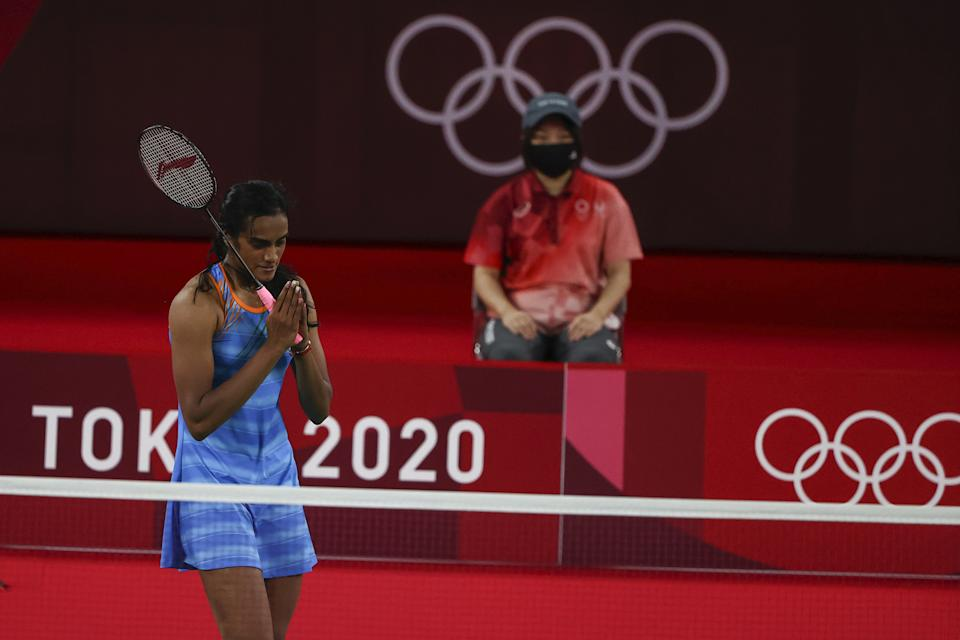 Tokyo 2020 Olympics - Badminton - Women's Singles - Bronze medal match - MFS - Musashino Forest Sport Plaza, Tokyo, Japan – August 1, 2021.  P.V. Sindhu of India gestures after winning her match against He Bingjiao of China. REUTERS/Hamad I Mohammed