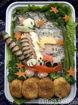 The terrible twosome otherwise known as Calvin and Hobbes made an appearance on a Bento box made by blogger Anna The Red.